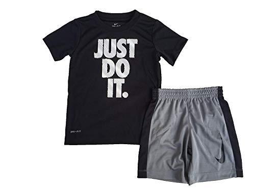 Nike Toddler Boys' Dri Fit Short Sleeve T-Shirt and Short 2 Piece Set (Black (76D621-023)/Wave White/Black, 12 Months)