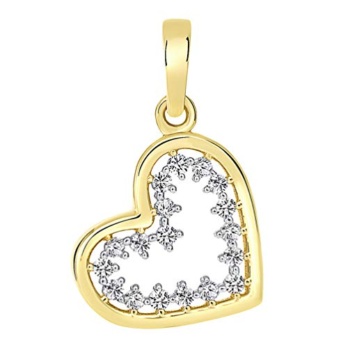 14k Yellow Gold Dangling Sideways Open Heart Charm Pendant with Cubic Zirconia Stones, 18mm x ()