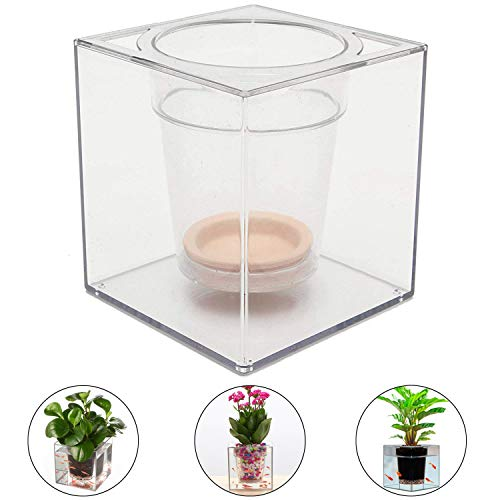 Water Herb Garden, Hydroponics Growing System,Transparent Crystal Cube Plastic Flowerpot Multifunction Transparent Fish Pots Automatic Irrigation Plant Flower Garden Pots