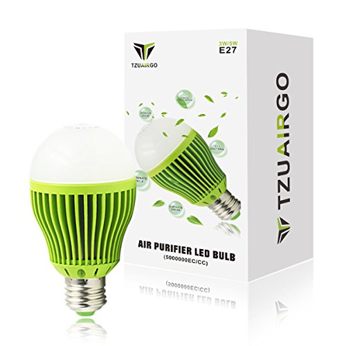 TZUAIRGO Air Purifier LED Light Bulb(E27)- Negative Oxygen Ions Remove Odors Smoke and Dust, Used for Table Lamp Wall Lamp, Quiet Mini Air Purifier Ionizer for Small Room up to 107 Sq ft by TZUAIRGO