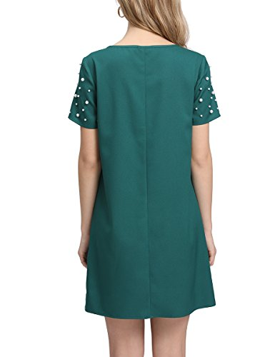 Women's Beading Tunic Dress Comfy Summer Green Romwe Loose Pearl qn4BPTBa