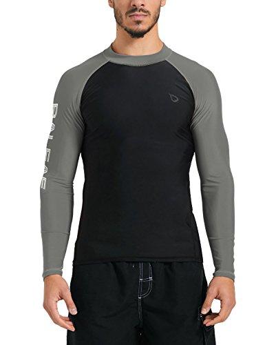 Baleaf Men's Basic Long Sleeve Rashguard UV Sun Protection Athletic Swim Shirt UPF 50+ Black/Grey Size XL by Baleaf