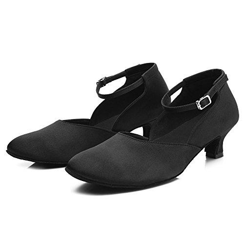 Roymall Chaussures De Danse Latine Satin Chaussures De Danse Salsa Tango Chaussures De Performance, Modèle Ty-c10 5cm Noir-2