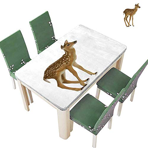 Printsonne Polyester Table Cloth Fawn Standing Isolated on White Background Table 54 x 120 Inch (Elastic Edge) ()