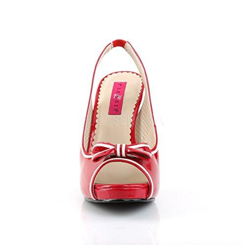 10 Donne Di Toe Peep Tribunale Formato Vernice Delle Etichetta Rossa Pinup Delle Vernice Rossa Grande Slingback Pleaser Scarpe Rosa 6wpxFXXq4