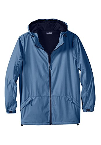 Men's Big & Tall Fleece-Lined Rain Coat, Ink Blue Big-6Xl