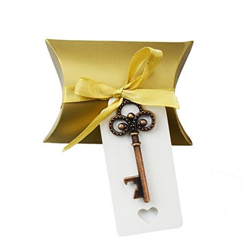 Aokbean 50pcs Vintage Skeleton Key Bottle Openers Wedding Favor Souvenir Gift Set Pillow Candy Box Escort Gift Card Thank You Tag French Ribbon ( Copper) Copper Silk Ribbon