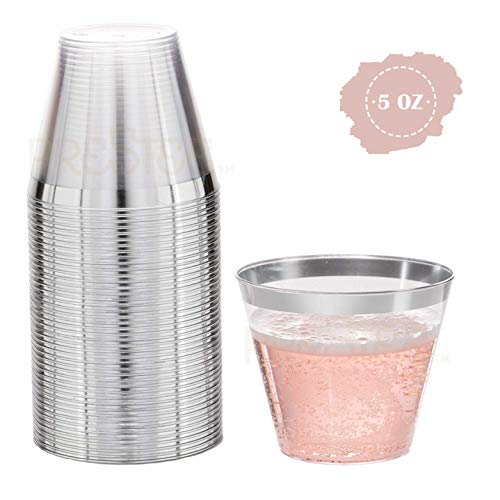 Silver Plastic Cups | 5 oz. 100 Pack | Hard Clear Plastic Cups | Disposable Party Cups | Fancy Wedding Tumblers | Nice Silver Rim Plastic Cups | Elegant Decoration Cups | Plastic Tumblers Bulk