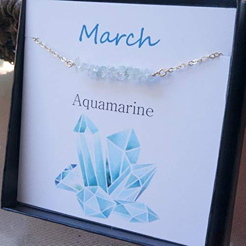 Aquamarine Necklace with Card Set March Birthstone Necklace 14kt Gold Filled Necklace Gift for Her Mother's Day Necklace for -