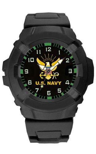 Aqua Force US Navy Logo 47mm Diameter Quartz Watch, Black with Black Face