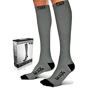 SB SOX Lite Compression Socks (15-20mmHg) for Men & Women - BEST Stockings for Running, Medical, Athletic, Edema, Diabetic, Varicose Veins, Travel, Pregnancy, Shin Splints, Nursing (Gray/Black, S/M)
