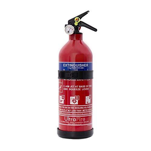 UltraFire 1kg Powder Fire Extinguisher - Car, Taxi, Caravan, Camping, Boat - Kitemarked EN3, 5 Year Warranty