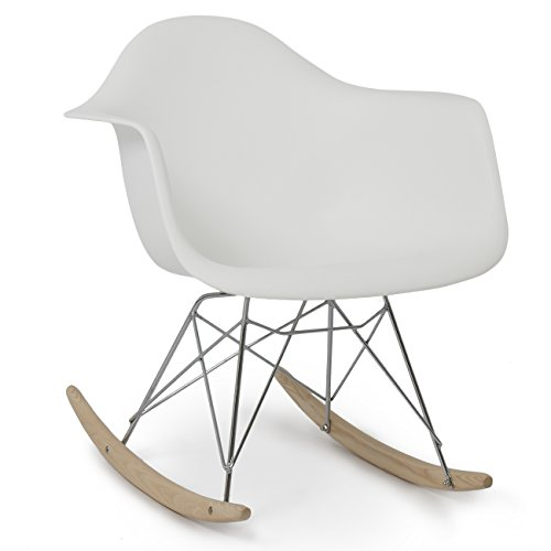 (Belleze Mid Century Style Rocking Retro Rocking Chair Mid Century Nursery Living Room Cradle, White)
