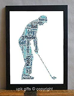 UPK Gifts Personalised Golfer Keepsake Print Gift Word Art With FRAME Golf Daddy Dad Fathers Day
