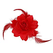 Generic Flower Hairclip Feather Headdress Headpiece Cocktail Party Fascinator 4 Colors - Red