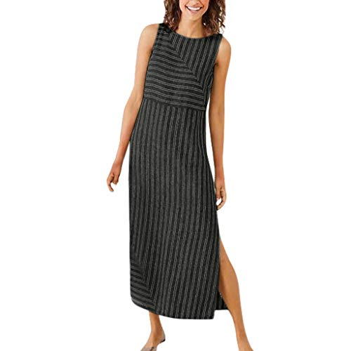iPOGP Women Casual Striped Sleeveless Split Dress Crew Neck Linen Long Dress Summer (Black,XXL) ()