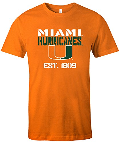 NCAA Miami Hurricanes Est Stack Jersey Short Sleeve T-Shirt, Orange,Large