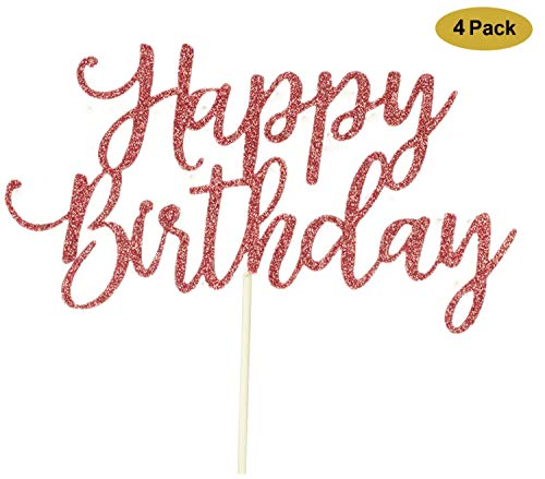 4 Pack Happy Birthday Cake Topper Rose Gold, 1st First Happy Birthday Cupcake Topper, Rose Gold Decoration ()