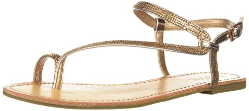 Kenneth Cole REACTION Women's Just Braid Toe Ring and Ankle Straps Flat Sandal, Rose Gold, 8 M US (Shoes Cole Just Kenneth)