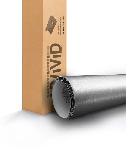 VViViD XPO Silver Brushed Steel 5 Feet x 1 Foot Car Wrap Vinyl Roll with Air Release Technology
