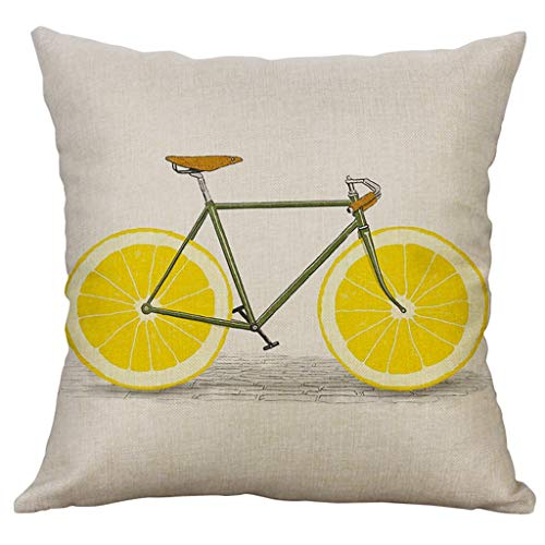 Pulison Spring Happy Easter Pillow Case Wreath Throw Pillow Cover Cushion Vintage Truck Cushion Cover Spring Home Decoration Cotton Linen 18 x 18 Inch (B)