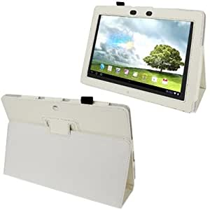 Lichi Texture Leather Case with Holder for ASUS MeMo Pad ME301T (White)