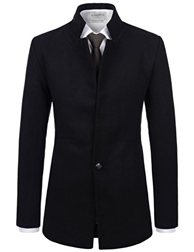 Wool Ivory Jacket Blend (NEARKIN (NKNKSC7013) Mens Upturned Collar 1 Button Wool Blend Solid Jacket Blazer BLACK US L(Tag size L))
