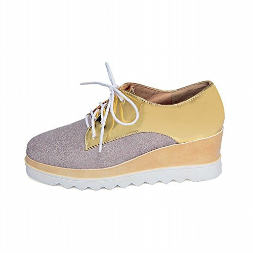 Platform Fashion Shoes Shine Show Wedge Gold Oxfords Shining Heel Womens SAHq4gZ