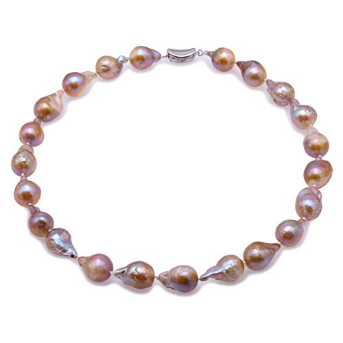 - JYX Pearl Strand Necklace Natural Baroque Lavender Freshwater Cultured Pearl Necklace for Women