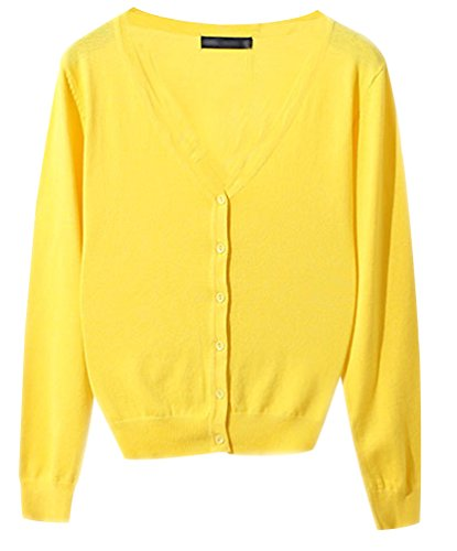 Pull Longues Tricot Jaune Chandail Jumper V Haut Casual Cardigans Gilet Cardigan Avec Classique Femme Top Pull Basic Col Pulls Ladies Boutons Manches vCnpxaqXS1