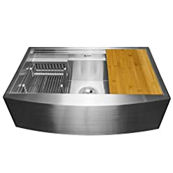 Farmhouse Kitchen AKDY Handmade Workstation Ledge 33-inch Farmhouse Apron Mount Kitchen Sink Single Bowl in Stainless Steel 33″ x 20″ x 9″ with Drying Rack & Cutting Board farmhouse kitchen sinks