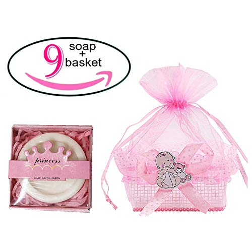 Noex Direct Baby Shower with a Gift Mini Soap Crown Style Natural Handmade Bar Soap in Baby Shower Box Decoration Guest Favors Gifts for Baby Birthday Wedding Party, 18Pcs (Pink Soap)