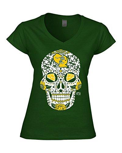 Green Bay Packers Cloths (America's Finest Apparel Green Bay Sugar Skull Shirt - Women's (Medium))