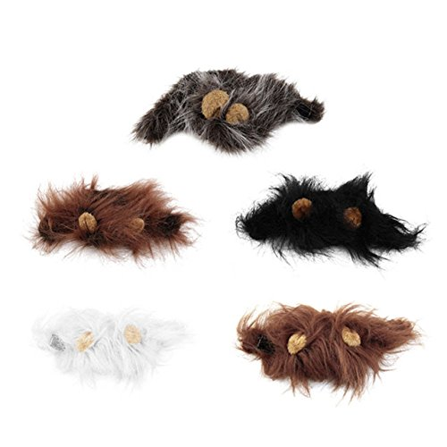Pet Cat Dog Emulation Lion Hair Mane Ears Head Cap Autumn Winter Dress Up Costume Muffler Scarf 5 Pcs. 5 colors
