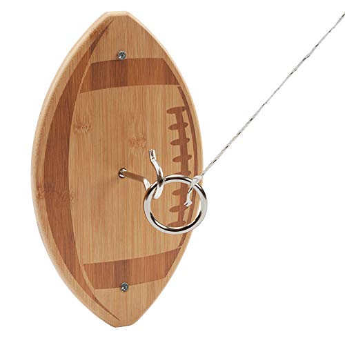 GSE Games & Sports Expert Bamboo Toss Hook and Ring Toss Game Set (Two Styles) (Football)]()