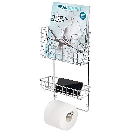 mDesign Wall Mount Metal Toilet Tissue Paper Roll Holder and Dispenser - 3 Tier Bathroom Storage Organizer with Magazine Rack Basket and Accessory Tray - Chrome (Magazine Rack Wall Bathroom)