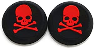 Vivi Audio? Thumb Stick Grips Cap Cover Joystick Thumbsticks Caps for PS4 Xbox ONE Xbox 360 PS3 PS2 Red Skull