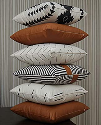 Efolki Decorative Throw Pillow Covers and Cases 18x18 inch Set of 6, Modern Design Cotton and Faux Leather, Boho, Mudcloth Farmhouse Pattern Decorative Pillow Covers for Couch, Sofa, or Bed