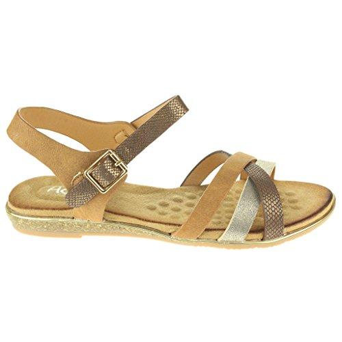 Mujer Señoras Maravilloso playa Fijación de la hebilla Punta abierta Verano Casual Comodidad Plano Sandalias Zapatos Tamaño camello