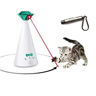 Ruff 'n Ruffus Automatic Laser Cat Toy + Bonus 3-in-1 Chase Toy | Interactive Cat Chase Toy | 3 Rotating Modes | Auto Shut-Off | AA Battery Operated | Kitten/Cat Owner's Gift Idea