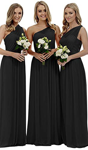 Staypretty Bridesmaid Dresses for Women Long One Shoulder Asymmetric Chiffon Prom Evening Gown Black 20