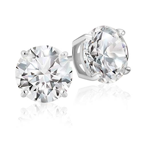 Lusoro 925 Sterling Silver Round Cut AAA Cubic Zirconia Stud Earrings - 2 Carat Total Weight CZ (Zirconium Round Earring)