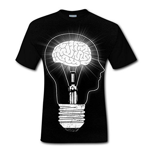 Bright Mind T-shirts Tops Short Sleeve Tee Shirt Sports Custom for Men L (Show Christmas Synchronized Light Diy)
