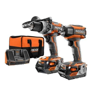 (Ridgid R9205 Gen5X 18V Lithium Ion Cordless Hammer Drill and Impact Driver Kit (Includes 2 x 18V Batteries, Charger, and)