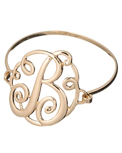 Jewelry Nexus B Monogram Filigree Designer Gold-tone Wire Bracelet