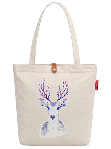So'each Women's Animal Sika Deer Graphic Top Handle Canvas Tote Shoulder Bag