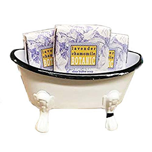 Tub Gift (Mini Metal Bathtub Gift Set with 3 Shea Butter Moisturizing Soaps (Lavender Chamomile))