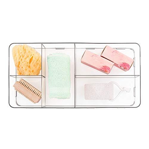 - iDesign Clarity Plastic Divided Organizer, Interlocking Storage Container for Vanity, Bathroom, Kitchen Drawers, 16