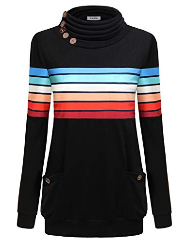 Fall Clothes for Women 2018, Misses Tops Long Sleeve Cowl Neck Banded Bottom Tunic Sweater Modest Contrast Vibrant Rainbow Striped Jersey Pullover Sweatshirt Black XXL (Rainbow Cotton Jersey)
