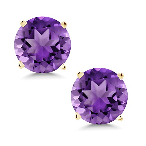 1.40 Ct Round 6mm Purple Amethyst 14K Yellow Gold Stud ()